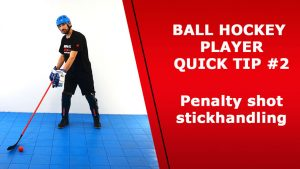 ball hockey player stick handling